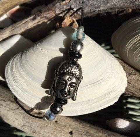 Beaded Buddha Bracelet, Blue Beaded Bracelet, Leather Bracelet, Silver Beaded Bracelet, Glass Beaded Bracelet,Yoga Bracelet, Buddha Bracelet by TruBoo on Etsy