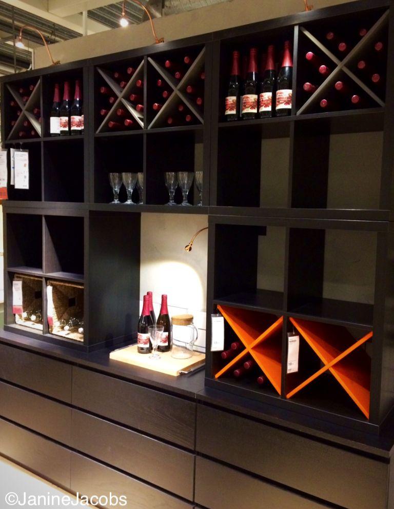 KALLAX and MALM combination to display bottles. #IKEA Amsterdam #JanineJacobs