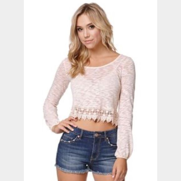 crop top long sleeve, beige, crotchet at bottom, crop top, Mint condition PacSun Tops Crop Tops