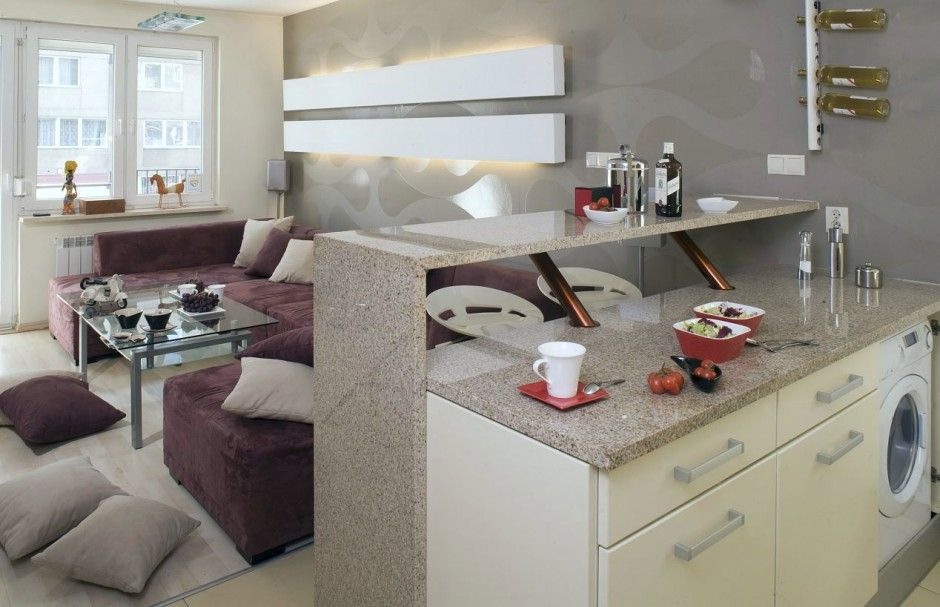 kuchnia z salonem w małym mieszkaniu  Szukaj w Google