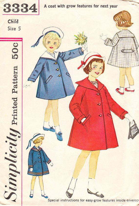 Vintage 1960s Sailor Collar Coat with Raglan Sleeves for Girls ...