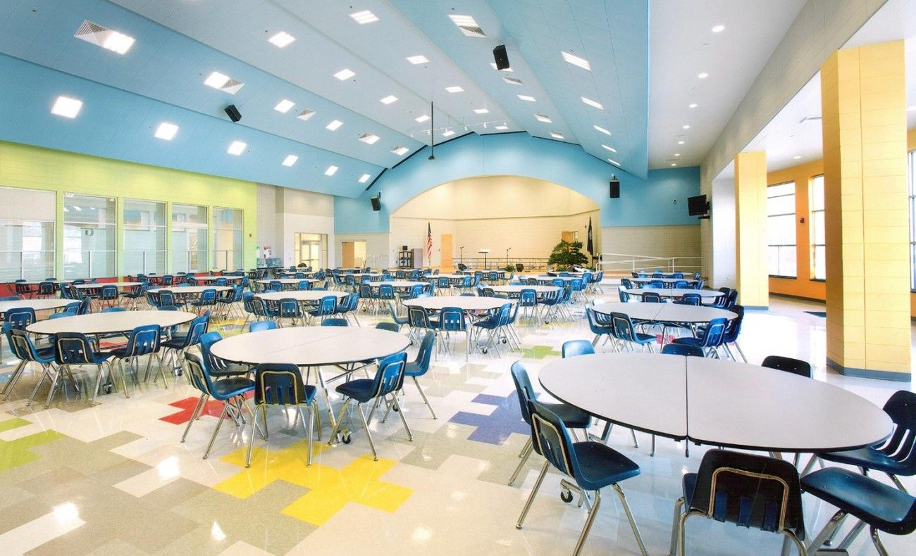A great design for an elementary cafeteria with the bright ...