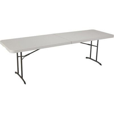 Lifetime 80175 Fold In Half Utility Table Almond 8 Foot By Lifetime 106 90 Lightweight Design Superior Fold In Half Table Folding Table Lifetime Tables