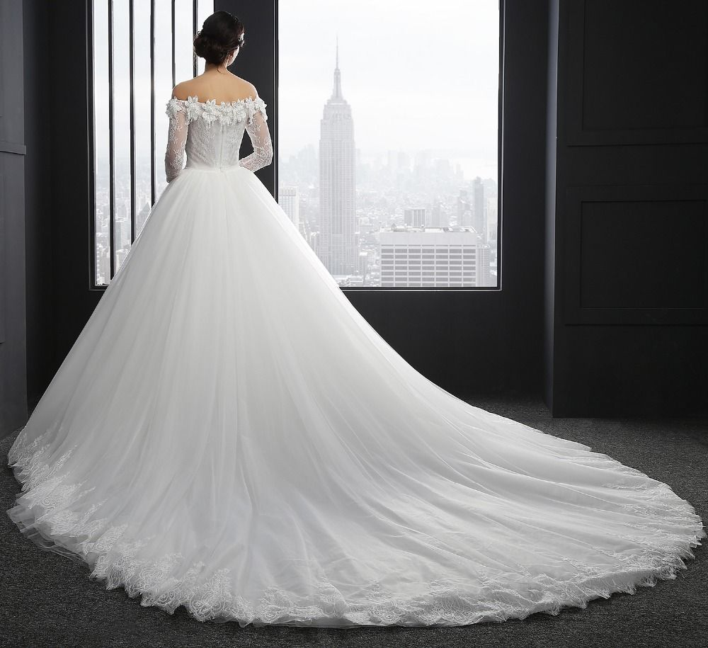 Sl sexy boat neck tulle backless lace long sleeve wedding