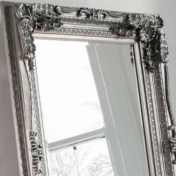 Carved Floor Standing Mirror - Silver - Oversized Leaner | Primrose ...