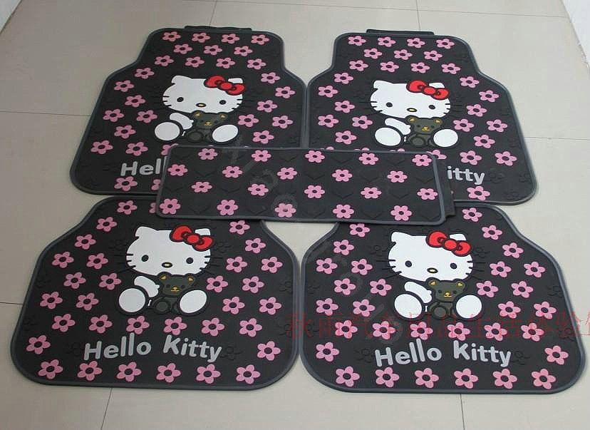 $125.64 Hello Kitty Universal Automobile Carpet Car Floor Mat Rubber Bear 5pcs Sets - Pink
