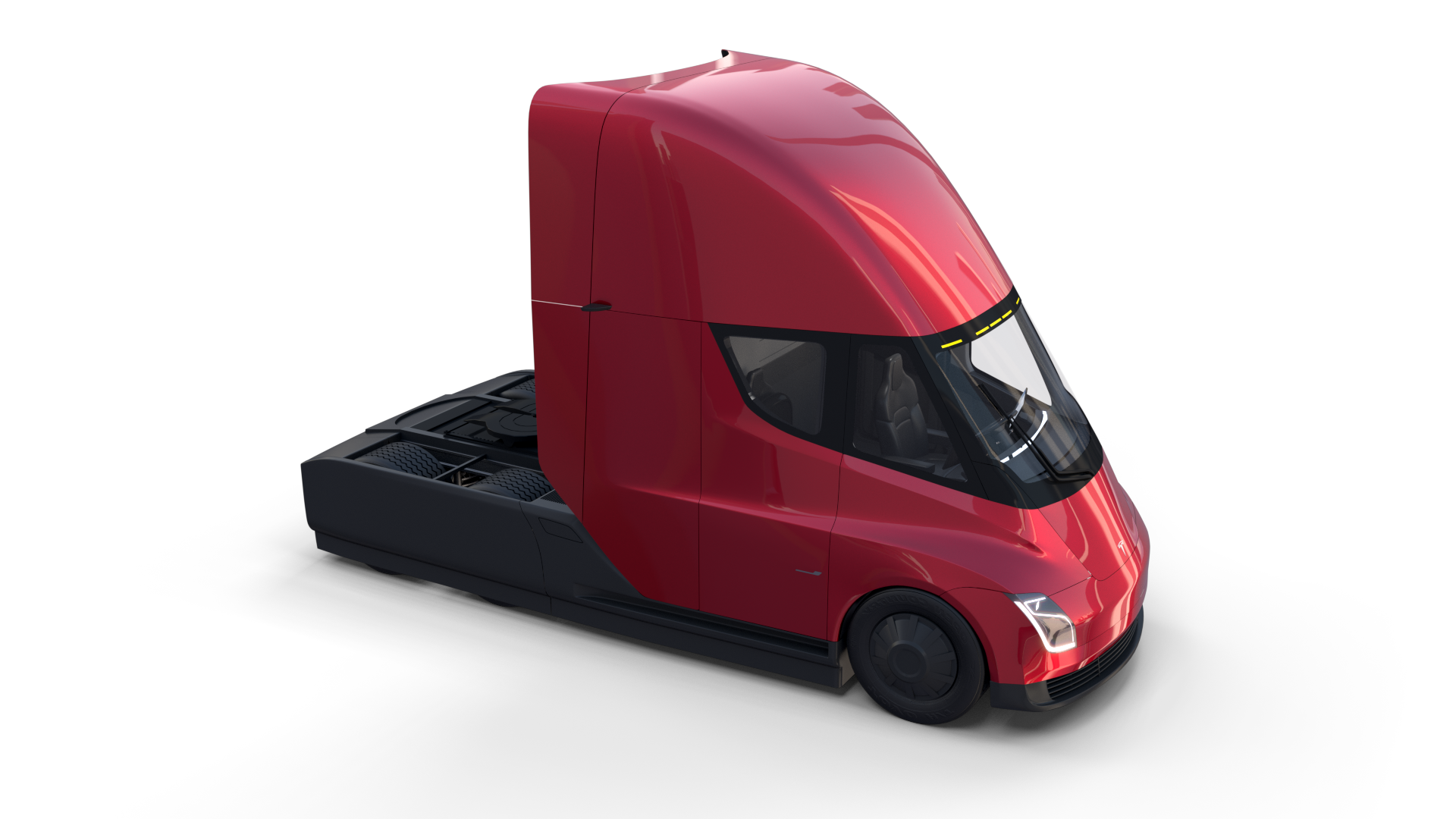 Tesla Truck With Chassis Interior And Trailer Red Ad Chassis Truck Tesla Red Tesla Semi Truck Semi Trucks Trucks