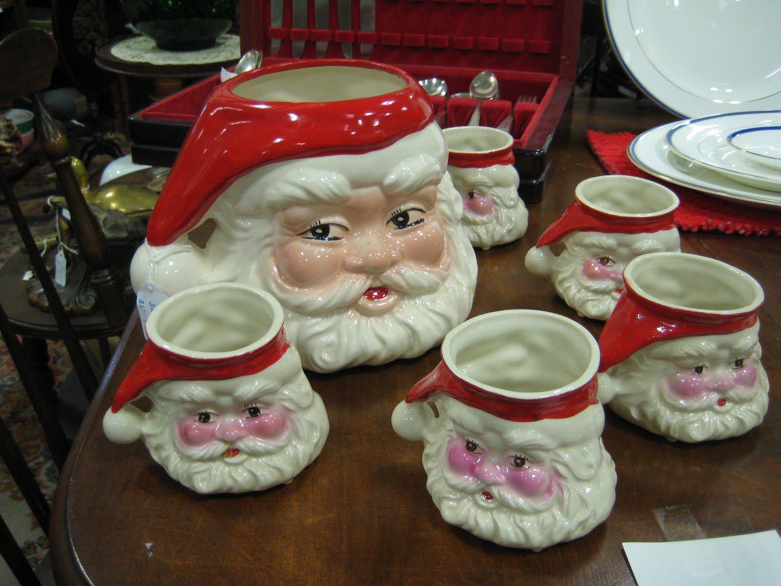 Vintage Santa Punch Bowl Set Christmas Mugs Vintage Christmas Decorations Vintage Christmas