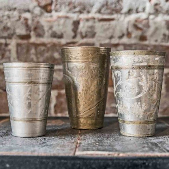 One World Interiors - Brass lassi cup
