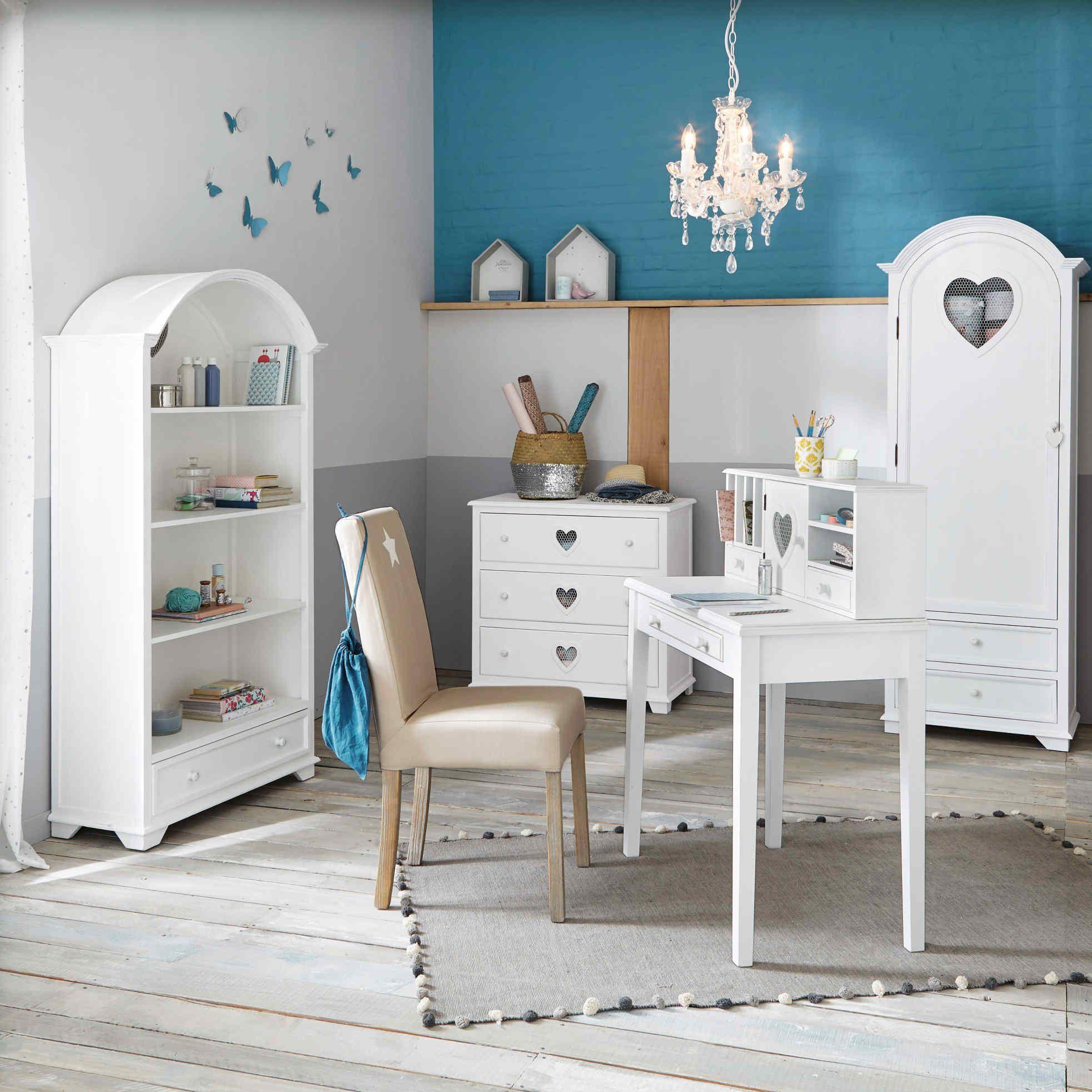 Bureau secrtaire en bois blanc L 86 cm Valentine Maisons du