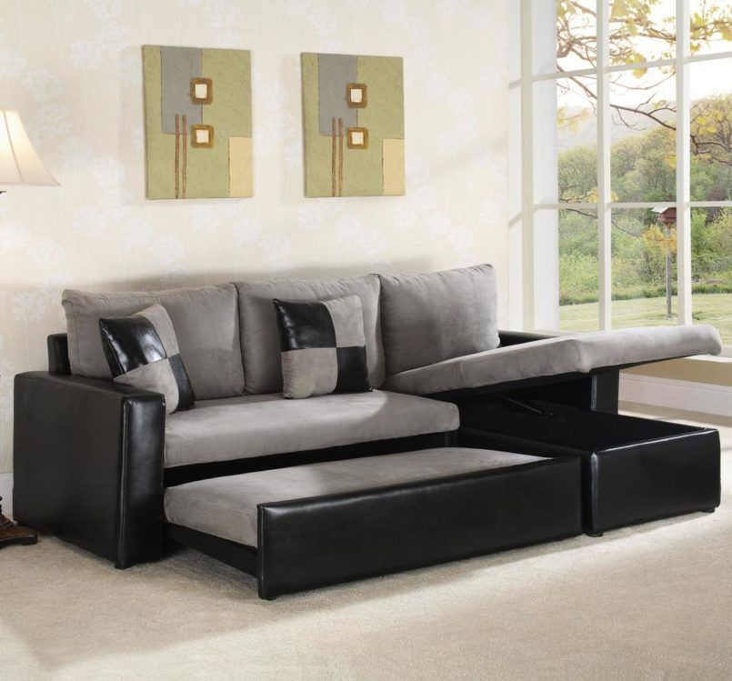 Furniture Modern Convertible Funiture With Sleeper Sofa Sectionals In Light Grey Fabric Mixed Black Leather Base Frames Trundle Slide And Storage