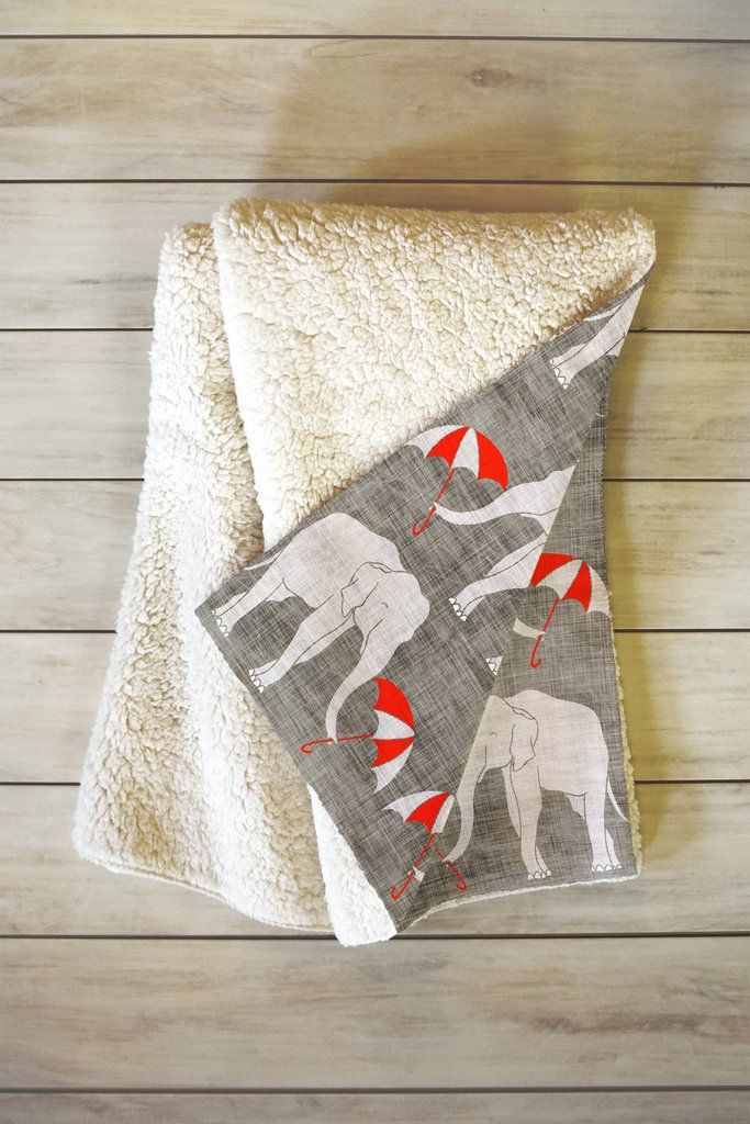 Holli Zollinger Elephant And Umbrella Fleece Throw Blanket | DENY Designs Home Accessories