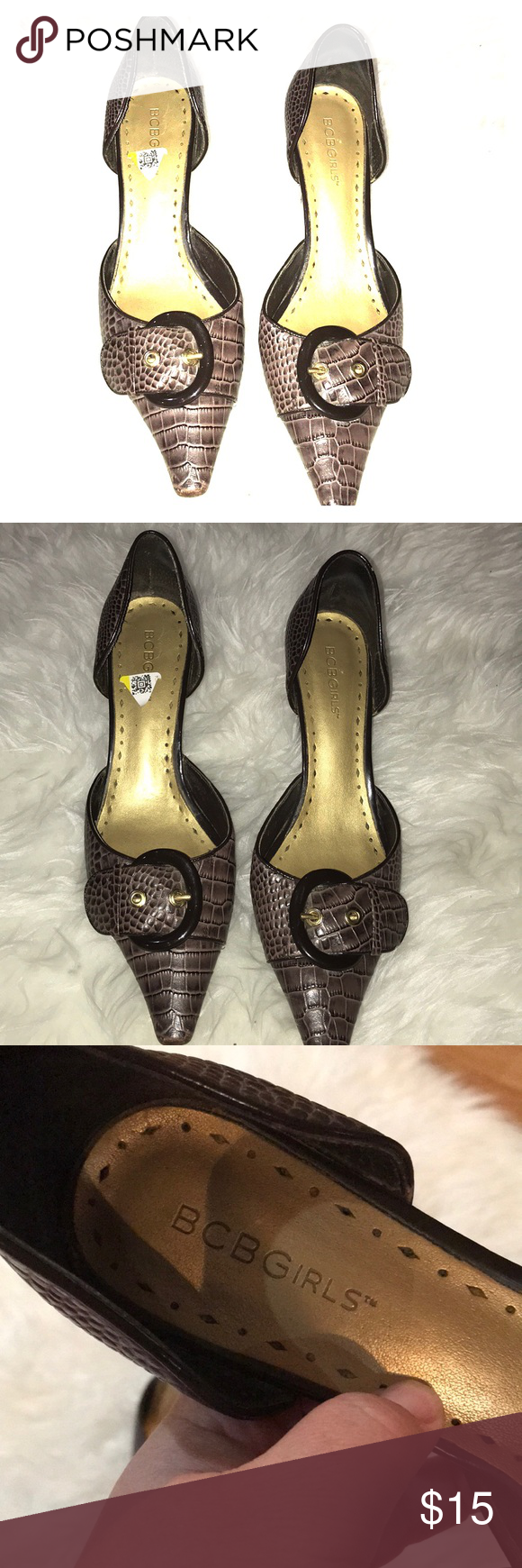 Bcbg Kitten Heel In Brown Alligator With Buckle Fun Heels Work Heels Shoes Women Heels