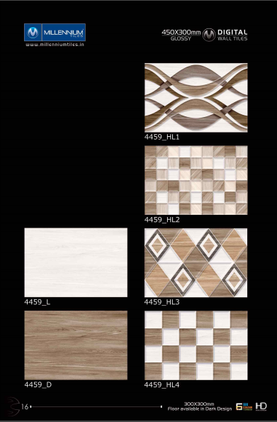 Backsplash Tiles 4459 Millennium Tiles 300x450mm 12x18 Digital Ceramic High Definition Glossy Patterns Wall Tiles Series The Matching Floor Tiles Are A