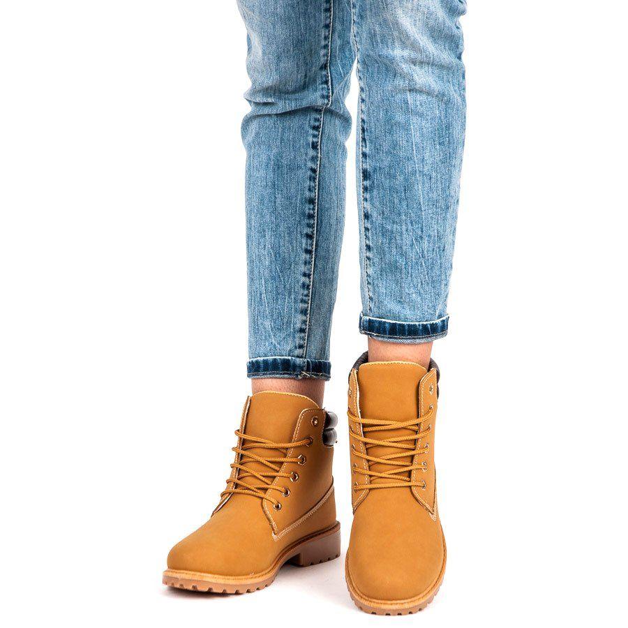 Coco Perla Brazowe Sznurowane Trapery Shoes Ankle Boot Boots