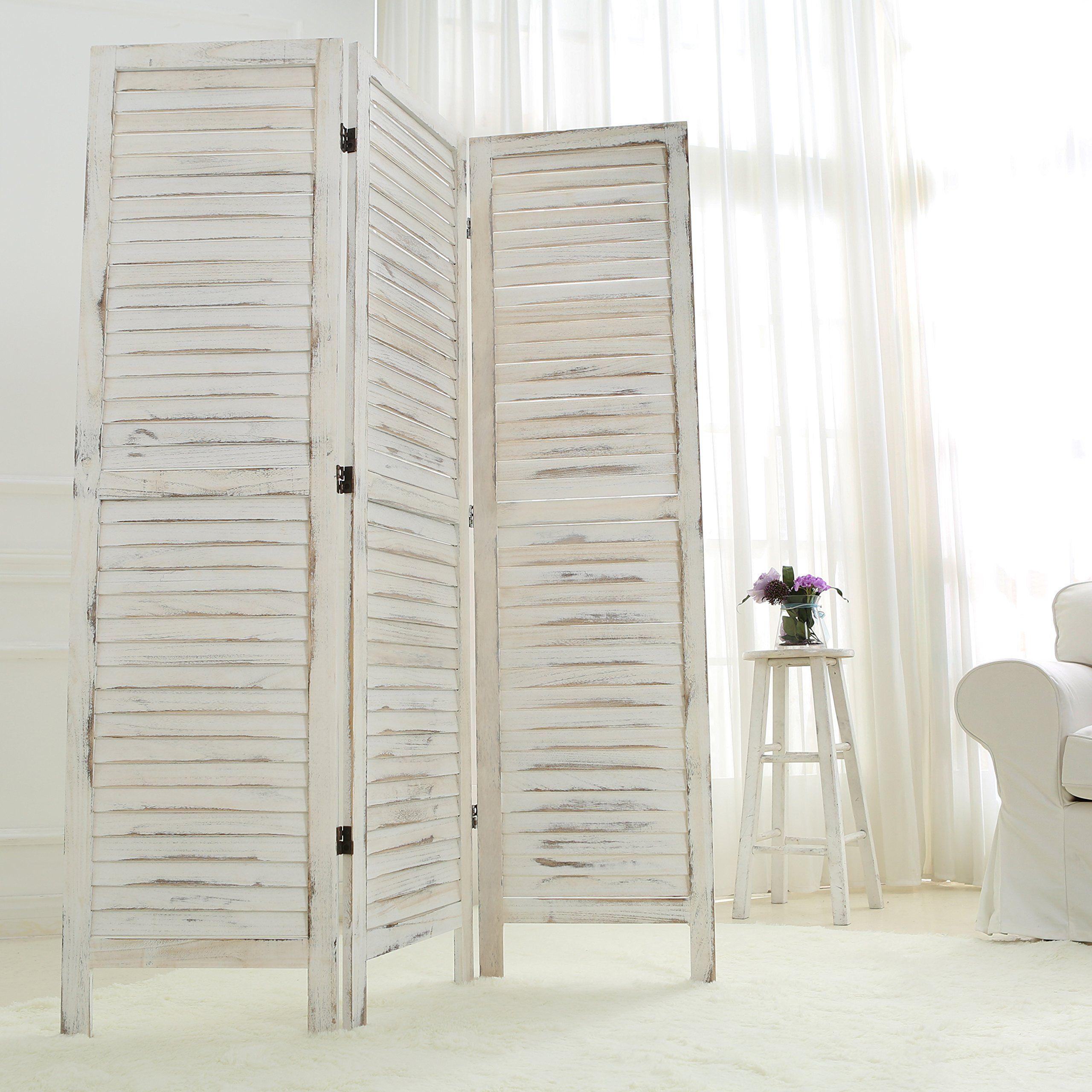 Mygift whitewashed wood 3 panel screen folding louvered