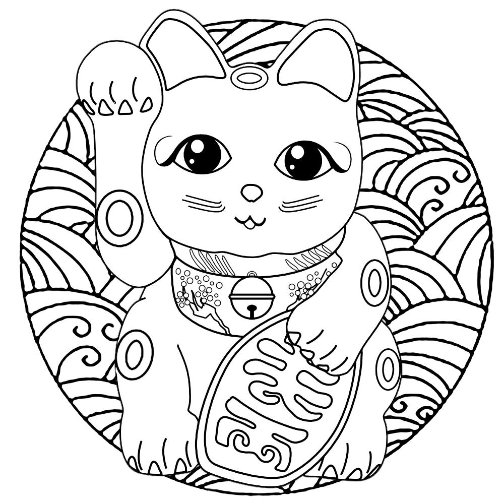 A Cute Maneki Neko Cat Japanese Figurine Lucky Charm Talisman In A Mandala Full Of Waves Mandala Coloring Pages Cat Coloring Page Mandala Coloring Books