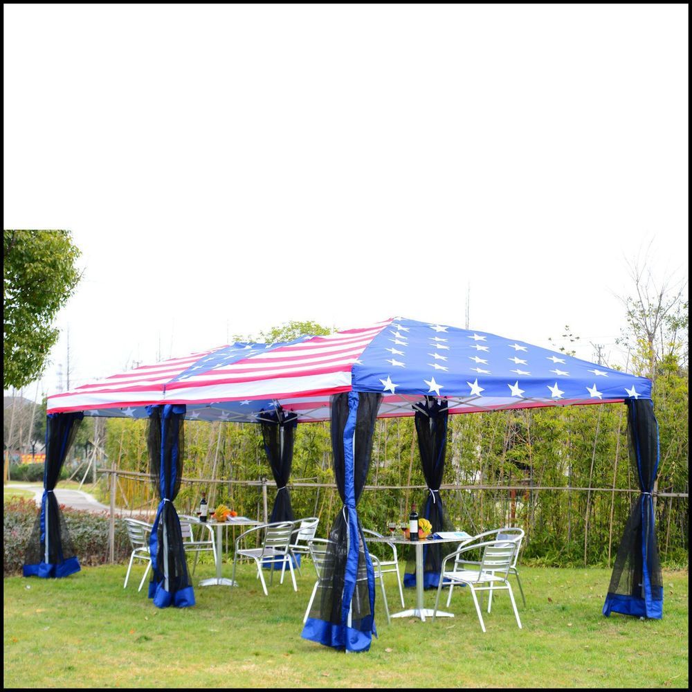 pop up canopy tent event party with mesh wall 10x20 american flag print steel us - 10x20 Pop Up Canopy