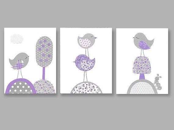Gray and Purple Nursery Birds Tree Girl by SweetPeaNurseryArt, $41.00