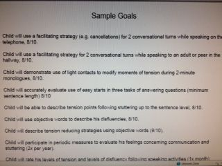 Sample Goals for Treatment from Fluency Friday-stuttering treatment and resources.  http://www.fluencyfriday.org/samplegoals.pdf Pinned by SOS Inc. Resources.  Follow all our boards at http://pinterest.com/sostherapy  for therapy resources.