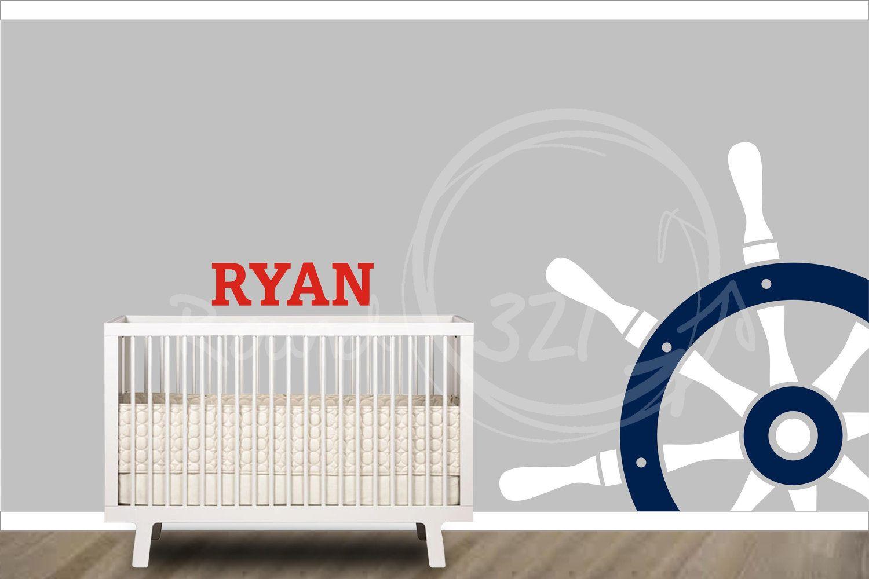 Boy nautical nursery ideas - Nautical Theme Steering Wheel Decal Customized Wall Decal Nautical Decor Nautical Nursery Playroom