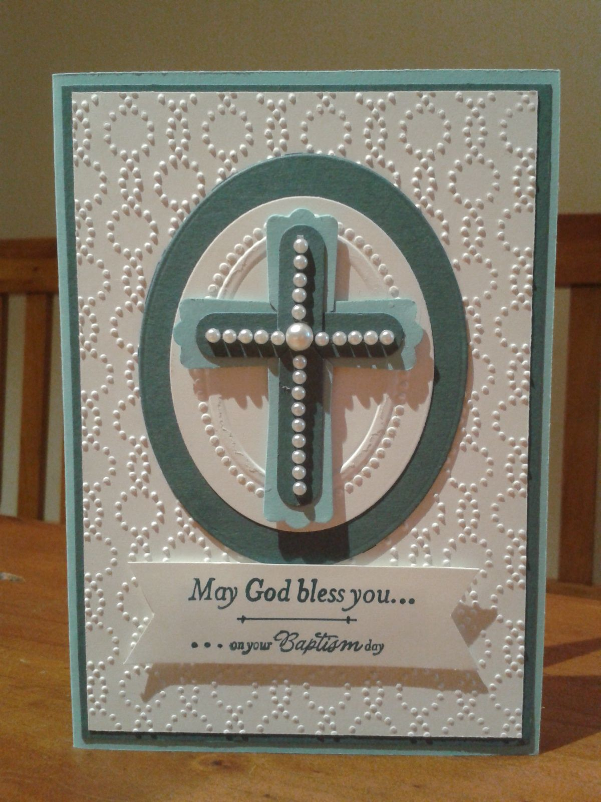 Christening Card Stampin Up Embossing Folders And Punch
