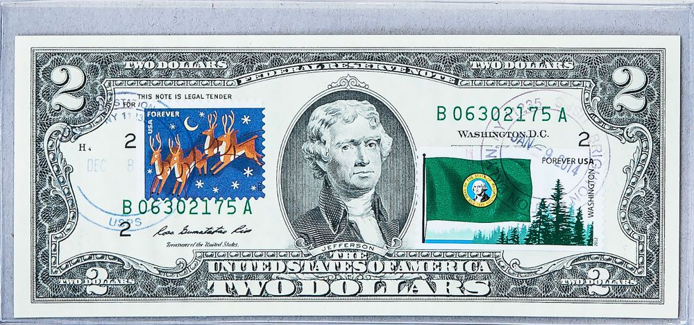 Federal Reserve Bank Note Uncirculated 2 Dollar Bill Money Stamps Christmas Deer