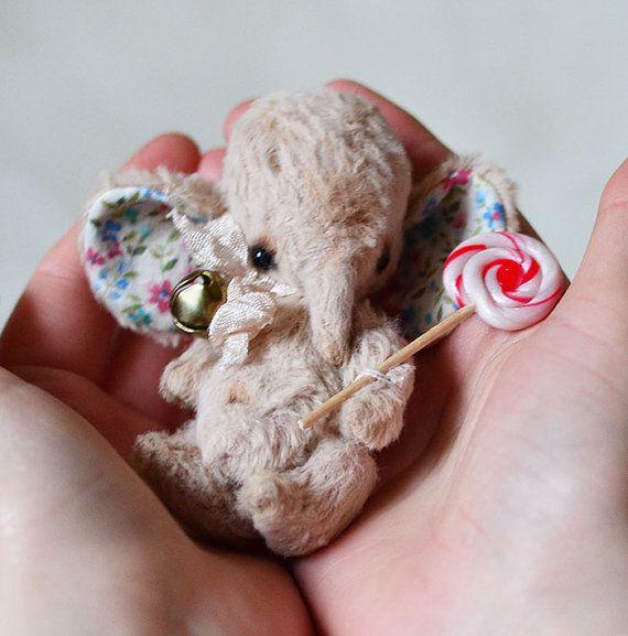 OOAK ARTIST Elephant Ethan  3 INCH by Natalia by lollipopbears