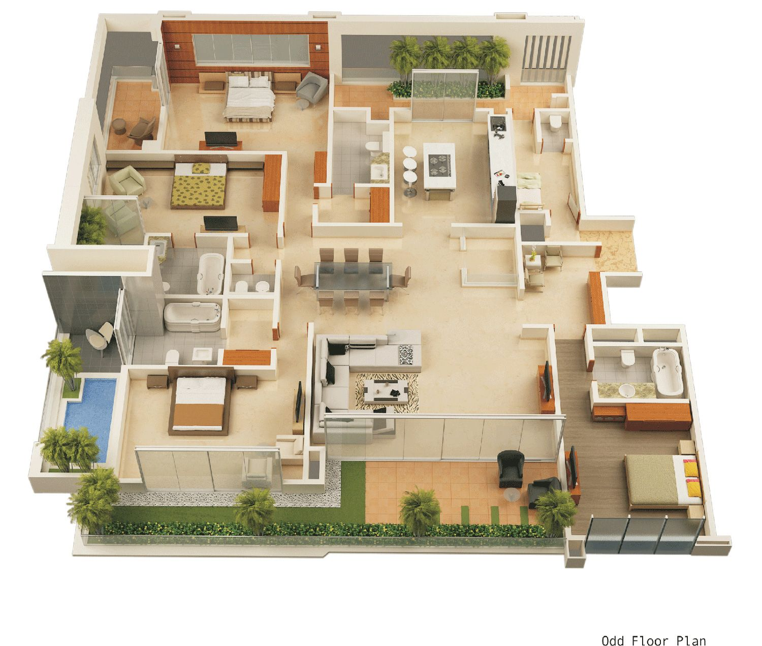 3d Floor Plan Design House Floor Plan Design Building 3d Floor 3d House Plans House Blueprints 4 Bedroom House Plans