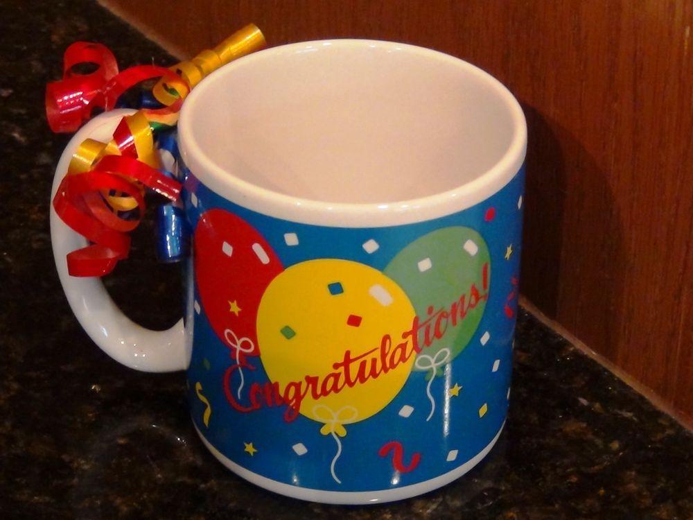 Congratulations balloons stars coffee beverage mug