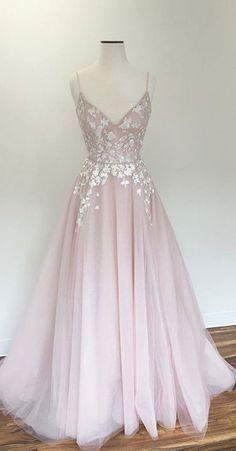 Light Pink Prom Gown,v Neck Prom Dress,tulle Prom Dresses,long Prom Dress,straps Evening Dress DS315 #promdresses