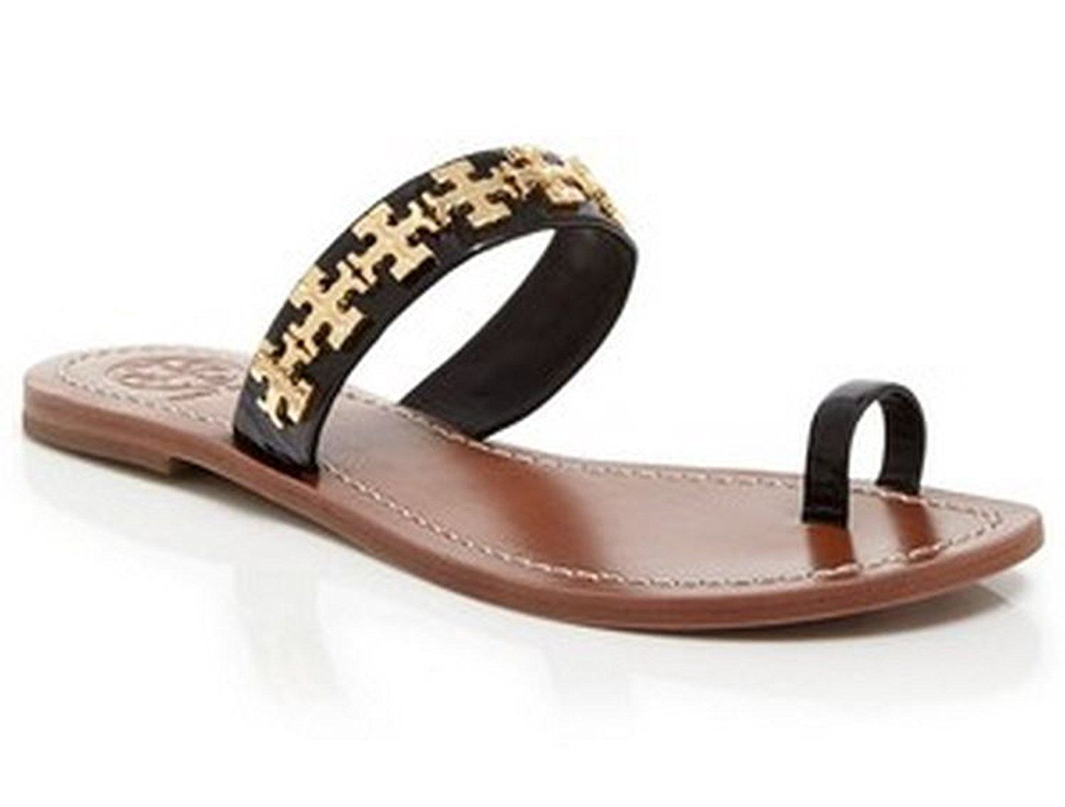 8a501c90e82 Tory Burch Val Flat Sandal Soft Patent Calf Leather Black Size 9     Learn  more by visiting the image link.  womenshoe