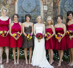 Maid Of Honor In Red Dress With Brown Sash Shoes Bridesmaids Dresses And Flowers My