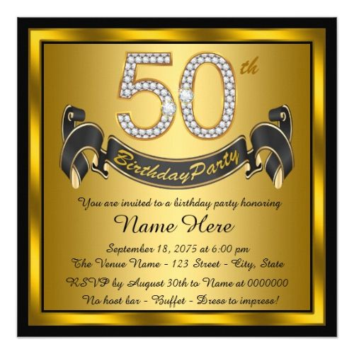 Black and gold 50th birthday party card birthday invitations black and gold 50th birthday party card filmwisefo