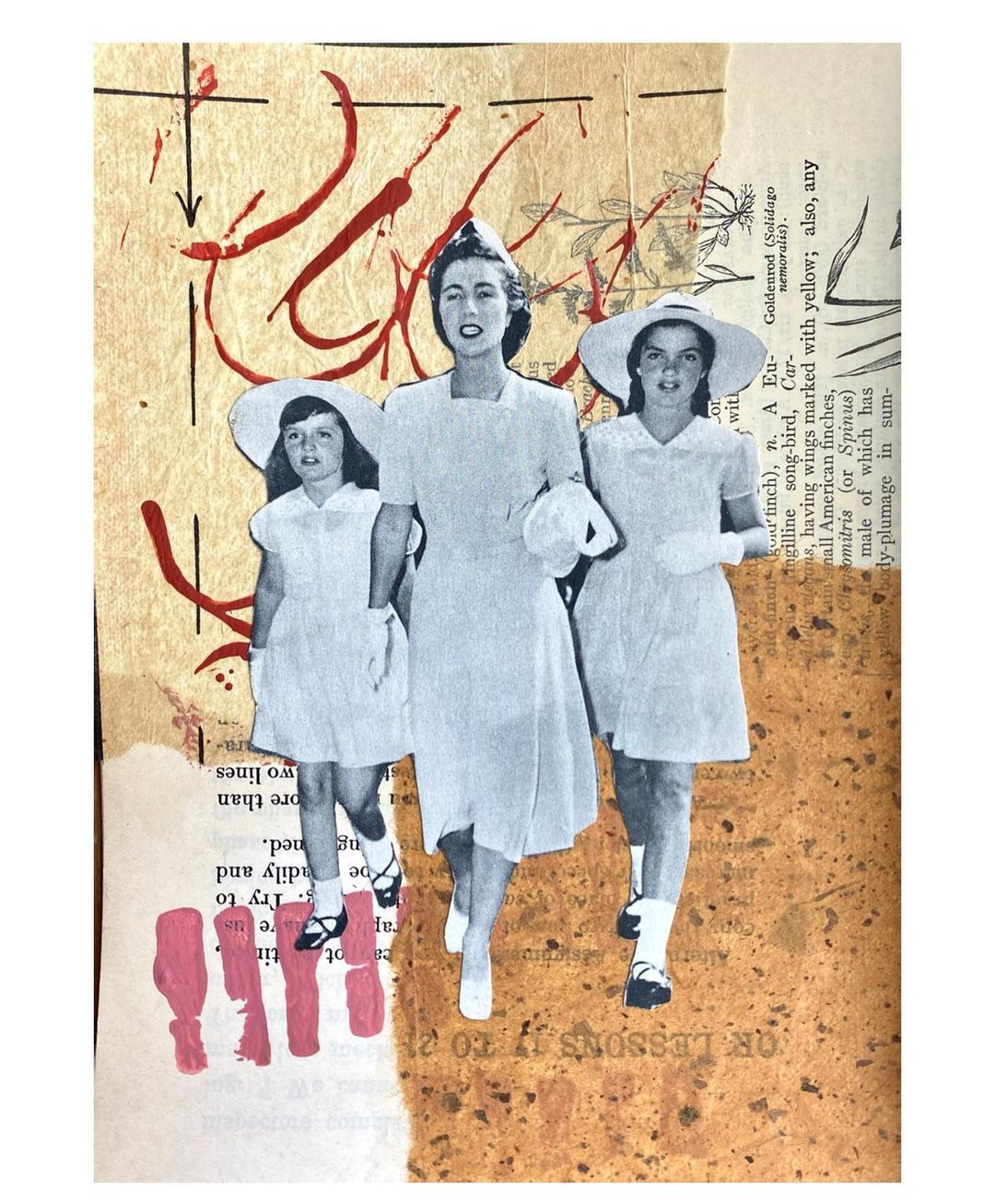 "Stephanie Roberts's Instagram post: ""On the Road Collage #4: Jackie, Janet and Lee #collage #collageart #analogcollage #analogcollageart #mixedmediaart #cutandpastecollage…"""