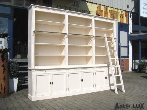 bibliothek buecherschrank in weiss mit leiter 300 cm zerlegbar shabby chic regal. Black Bedroom Furniture Sets. Home Design Ideas