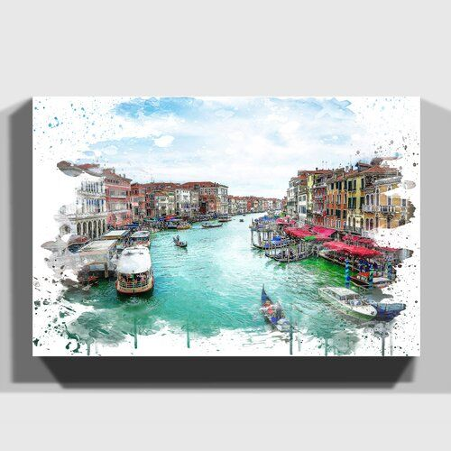 Photo of East Urban Home mural gondolas and boats in Venice Wayfair.de