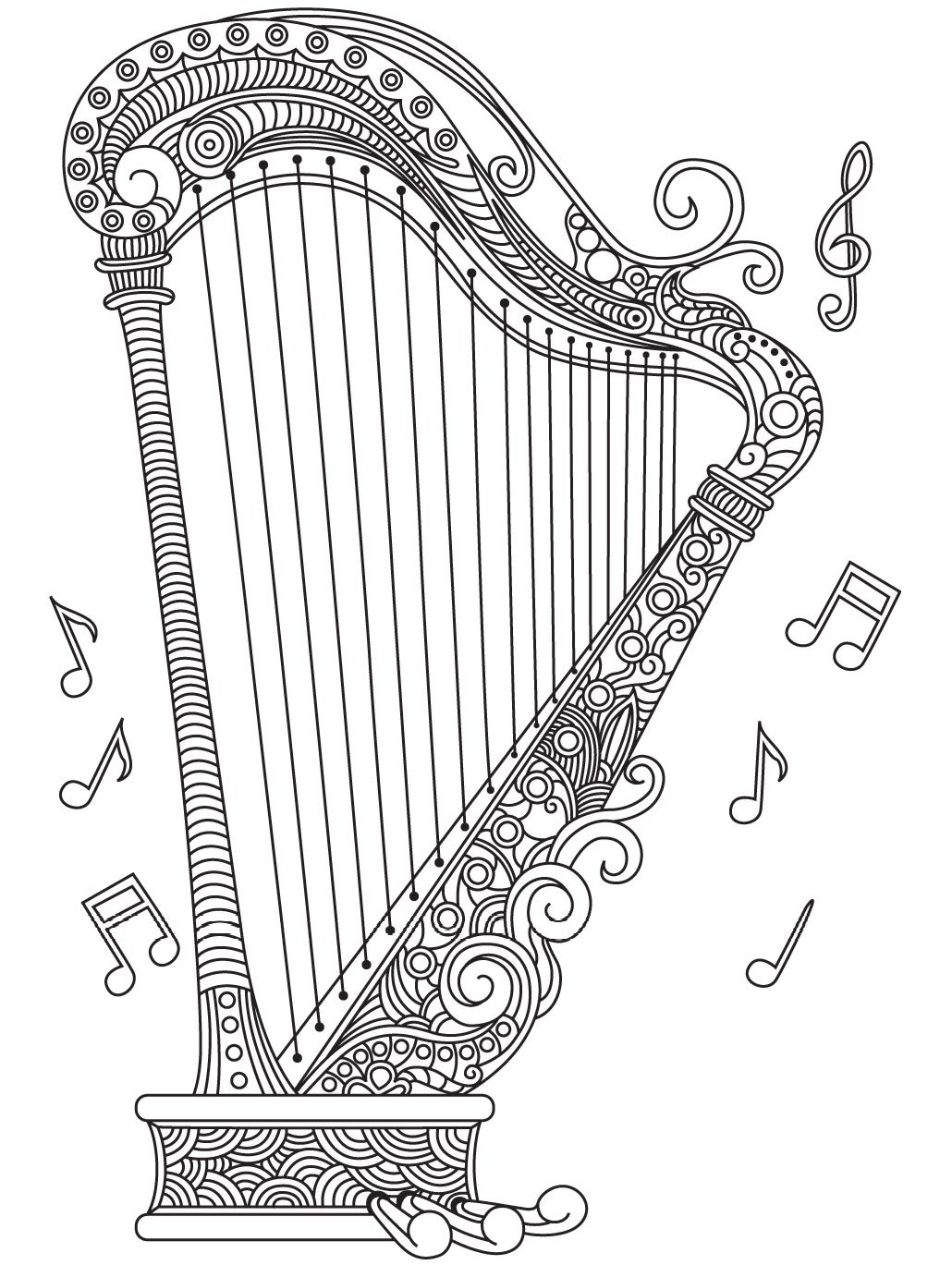 Harp Colorish Coloring Book For Adults Mandala Relax By Goodsofttech Heart Clip Art Music Notes Drawing Coloring Books