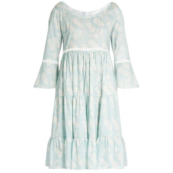 Athena Procopiou A Bohemian Romance cotton dress (23.555 RUB) ❤ liked on Polyvore featuring dresses, white floral dress, tiered dresses, bell sleeve dress, white slip and white dress