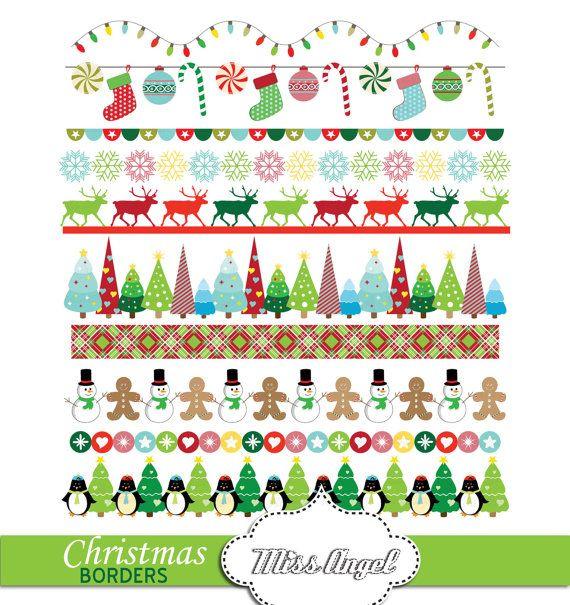 Christmas Borders Red Green, Digital Christmas bunting banners clip