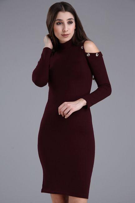 Detaylari Goster Omuz Dekolteli Triko Bordo Elbise The Dress Kazak Elbise Elbise