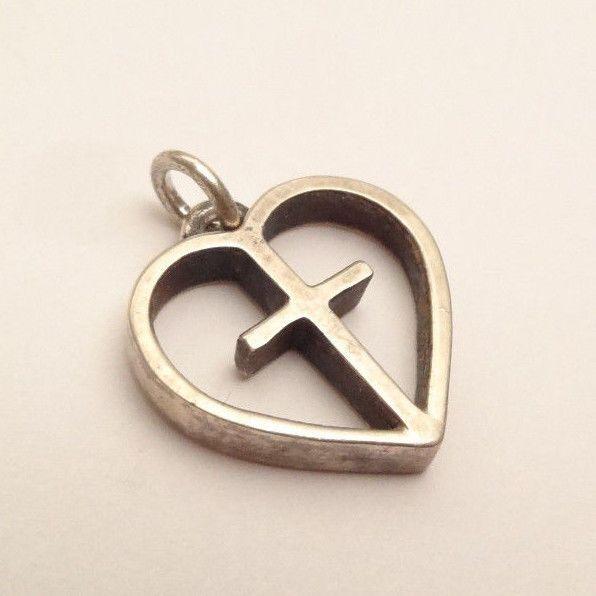 Retired james avery deep heart cross pendant charm sterling silver 925 aloadofball Choice Image