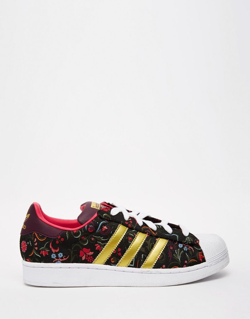 new concept f2eb2 f4ec6 adidas Originals Floral Print Superstar With White Shell ...