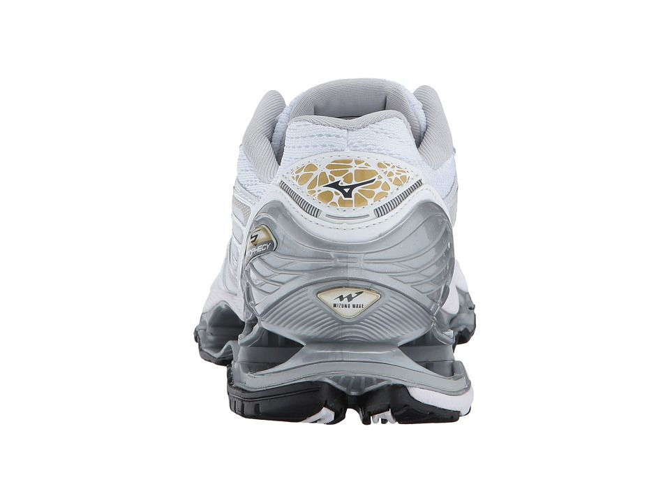separation shoes 47a82 cb7ee Mizuno Wave Prophecy 6 Women s Running Shoes White Silver Gold