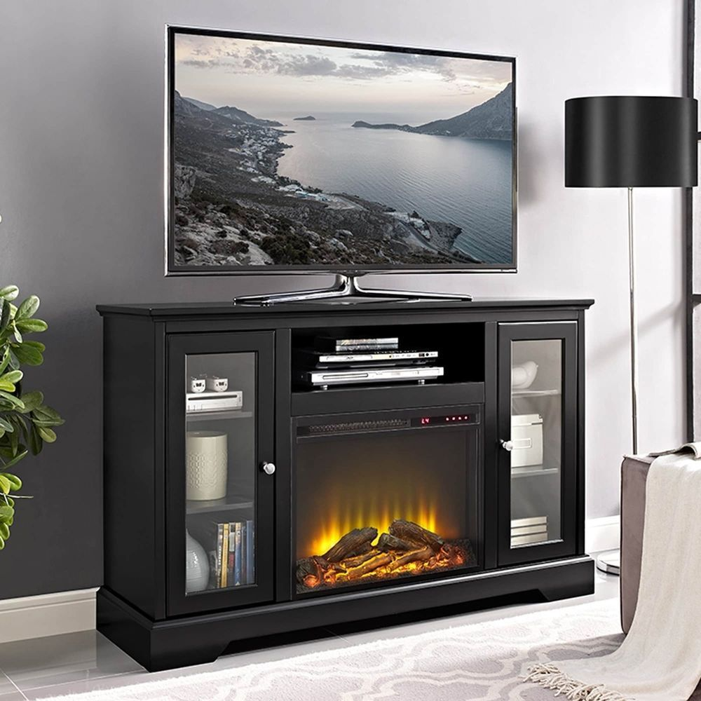 Walmart Black Electric Fireplace 52 Highboy Fireplace Tv Stand Console Black 52 X 16 X 33h