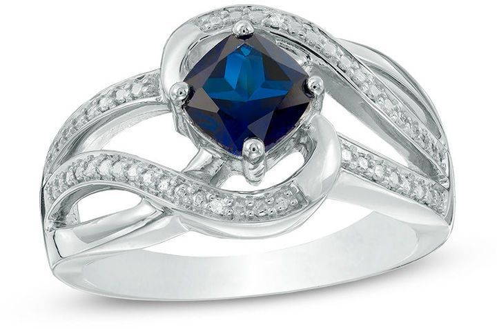 Zales 6.0mm Trillion-Cut Lab-Created White and Blue Sapphire Frame Vintage-Style Ring in Sterling Silver AjvtF
