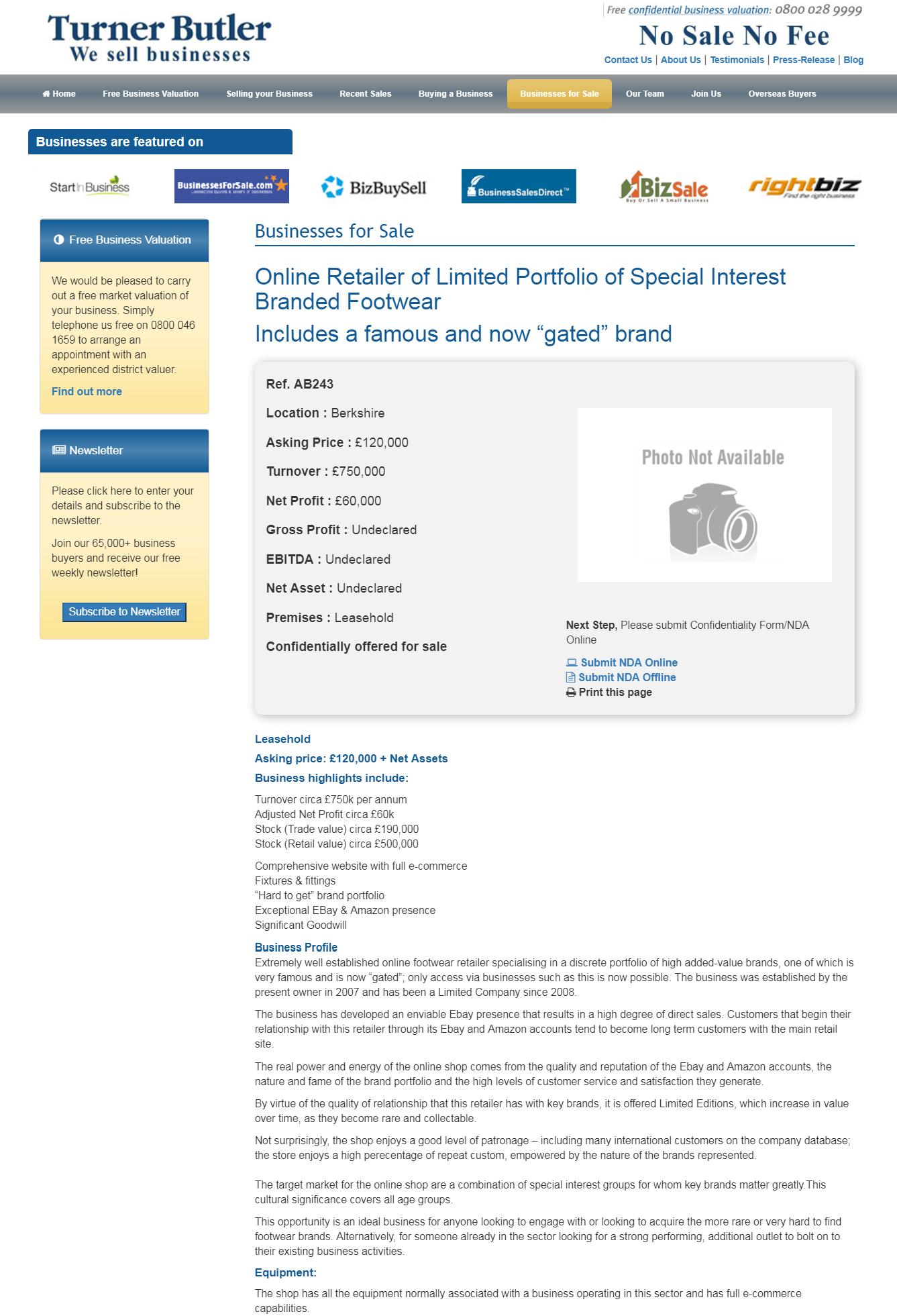 Online Retailer Of Limited Portfolio Of Special Interest Branded