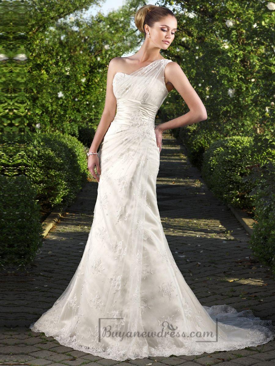 Oneshoulder floral embroidered sheath wedding dreses buyanewdress