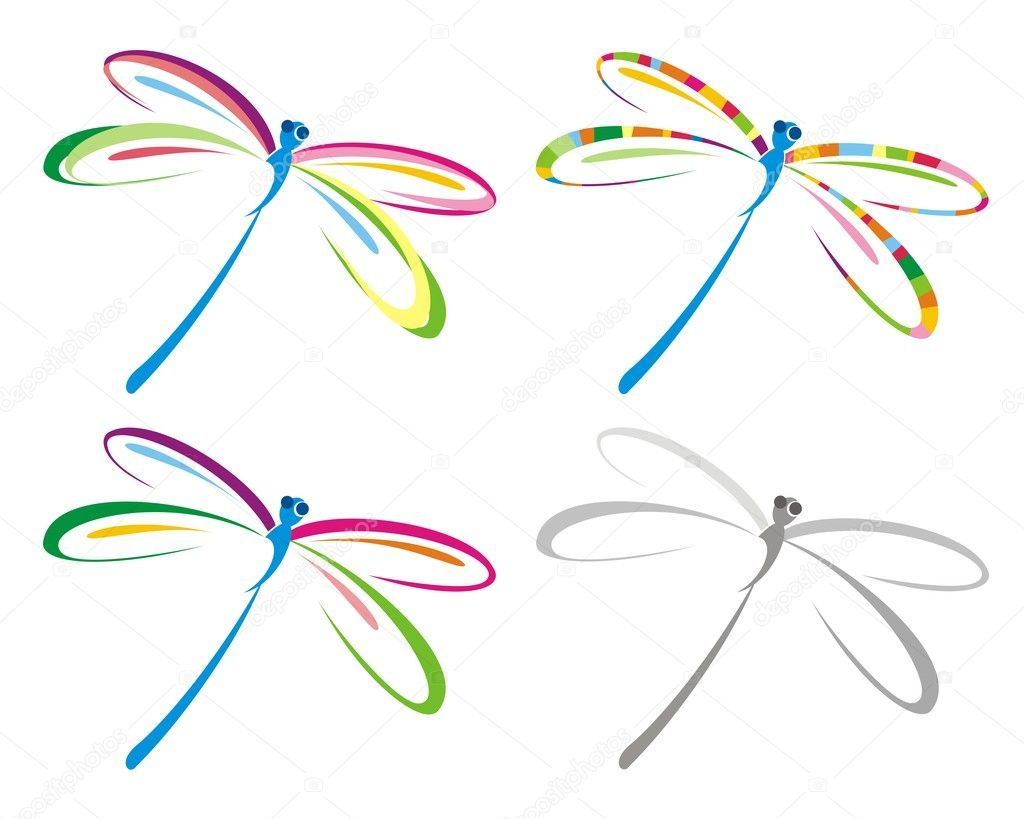 Download Download royalty-free Set of color dragonfly. Vector ...