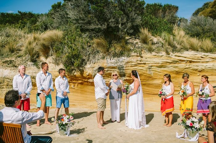 Colourful Beach wedding ceremony | itakeyou.co.uk #beachwedding